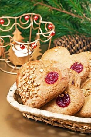 Christmas cookies with Christmas decorations photo