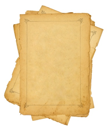 pile of old vintage papers isolated on white background  photo