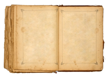 blank book cover: old open book isolated on white Stock Photo