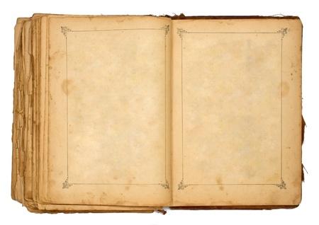 portadas de libros: viejo libro abierto aislado en blanco Foto de archivo