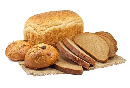comiendo pan: pan y productos de panader�a aisladas sobre fondo blanco
