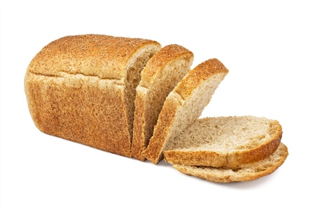 The cut loaf of bread isolated on white photo