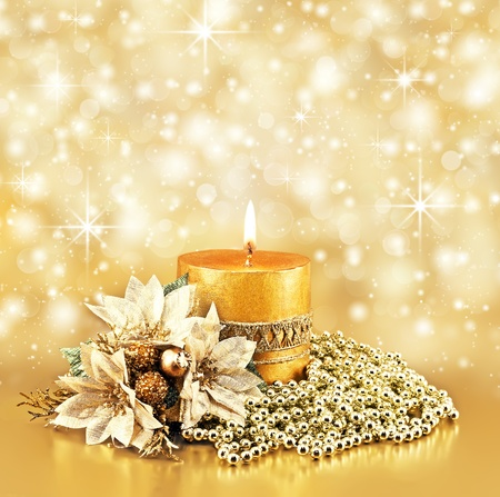 christmas decoration on golden bokeh background  photo