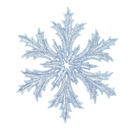 Shiny snowflake isolated on winter background photo