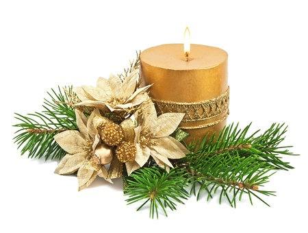 green and gold: Christmas decoration with candles and poinsettia on white Stock Photo