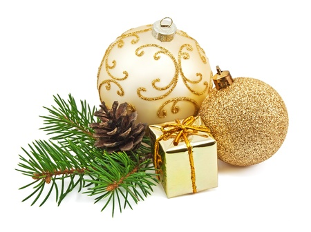 christmas sphere: christmas decoration isolated on the white background