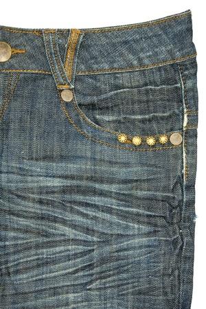 Blue jeans pocket on white background photo