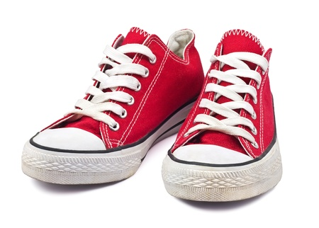 shoes model: vintage red shoes on white background Stock Photo