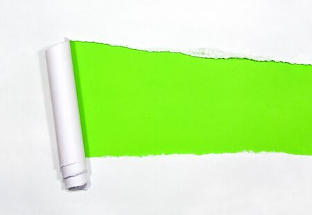 Torn Paper with space for text on green background photo