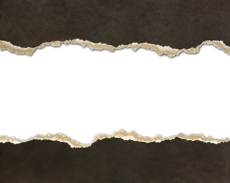Torn paper borders isolated on white photo