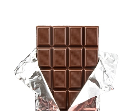 silver bar: chocolate bar with open cover on white Stock Photo