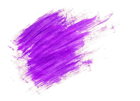 Lilac acrylic paint brush strokes on white background photo