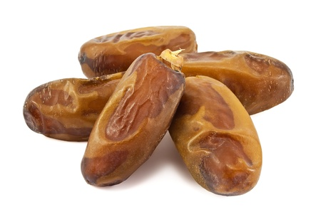 arabian food: Date fruits on white background Stock Photo