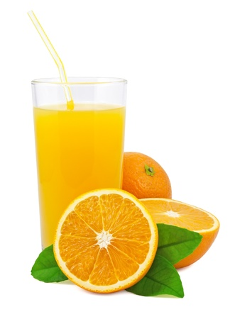 glass half full: Orange juice and oranges with leaves on white background