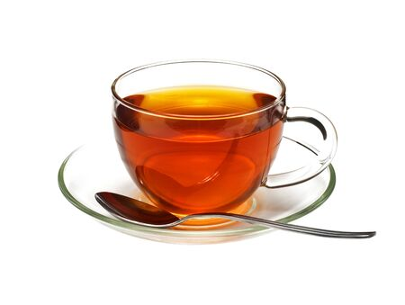 brown cup tea: Glass cup with black tea and spoon, isolated on white