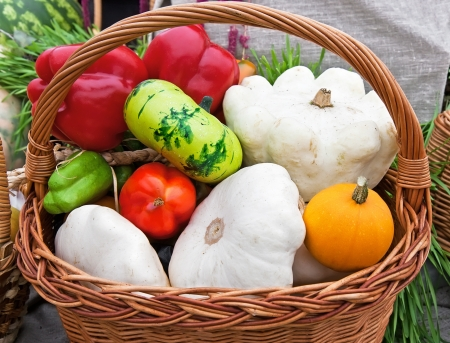 Fresh various vegetables in a basket photo
