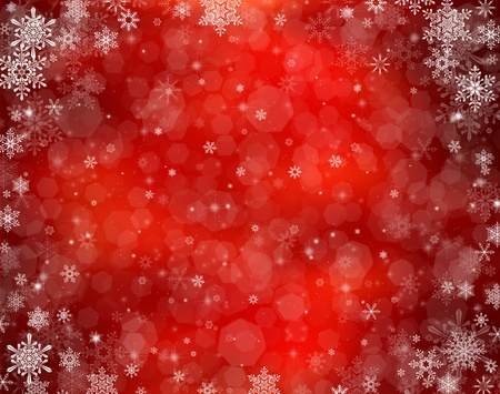 Decorative christmas background with bokeh lights and snowflakes photo