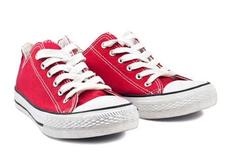 red shoes: vintage red shoes on white background Stock Photo