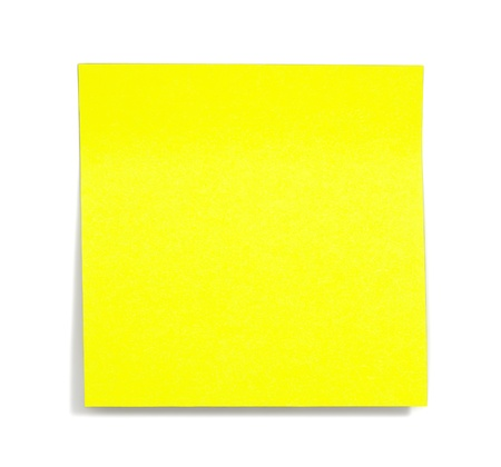 yellow sticky note with shade on white Stock Photo
