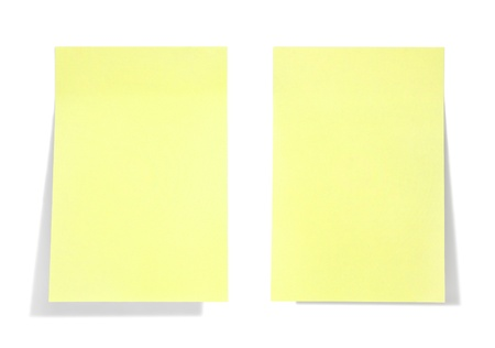 yellow tacks: yellow sticky note with shade on white Stock Photo
