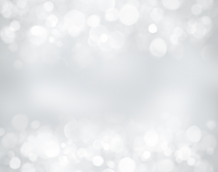 Silver christmas background with stars and bokeh lights