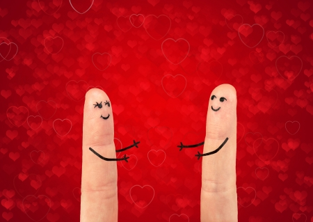 Happy couple in love with painted smiley Stock Photo - 17466845