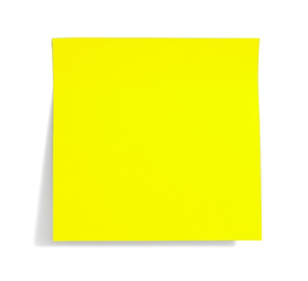 yellow tacks: green sticky note with shade on white Stock Photo