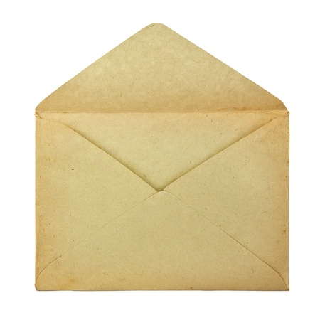 Old envelope isolated on a white background 스톡 콘텐츠