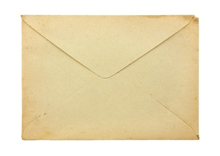 Old envelope isolated on a white background photo