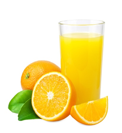 oranges: Orange juice and oranges with leaves on white background