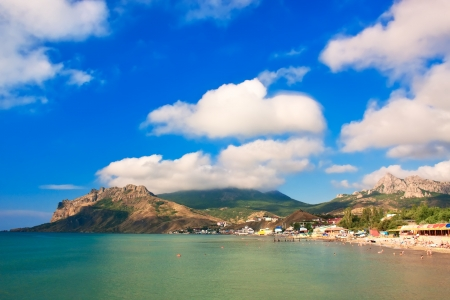 Summer landscape with mountains and sea. Koktebel, Crimea, Ukraine photo