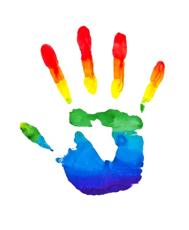 dirty hands: Rainbow painted hand shape isolated on white