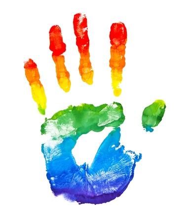 Arco Iris pintado forma de la mano aislado en blanco