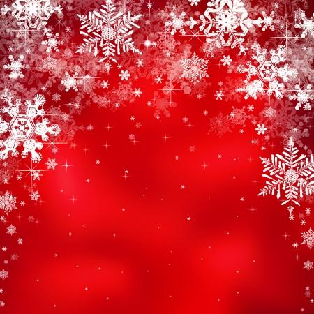 Decoratieve kerst achtergrond met ster verlichting en sneeuwvlokken Stockfoto