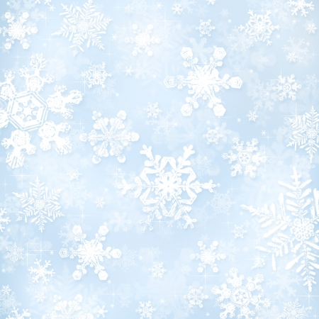 Decorative blue christmas background with bokeh lights and snowflakes photo