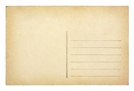 Old vintage postcard isolated on white background photo
