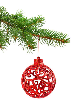 Branch of Christmas tree and red ball on white background photo