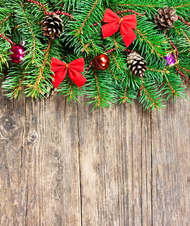 Christmas decoration on a wooden background photo
