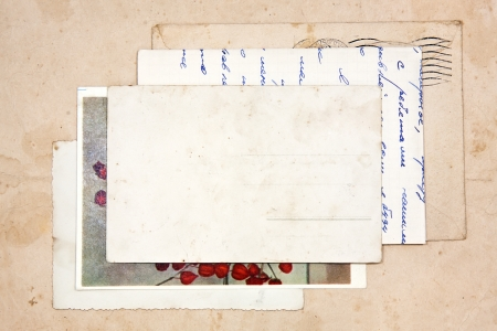 post cards: old letters, empty post cards and two hearts, vintage
