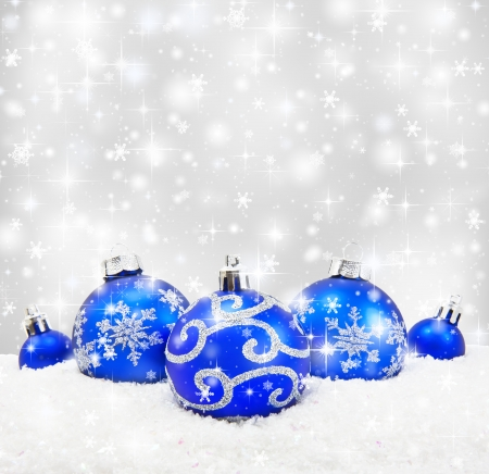 Decorative christmas with bokeh lights and snowflakes