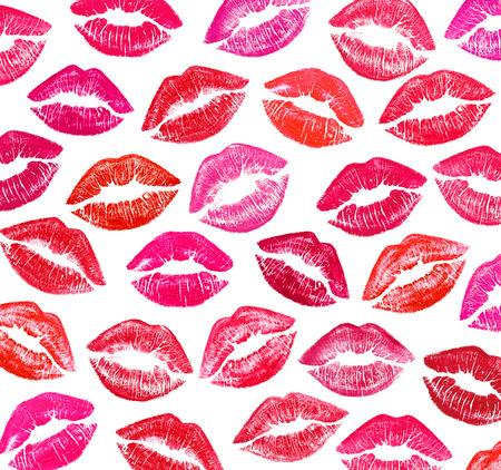 Set of beautiful red lips on white photo