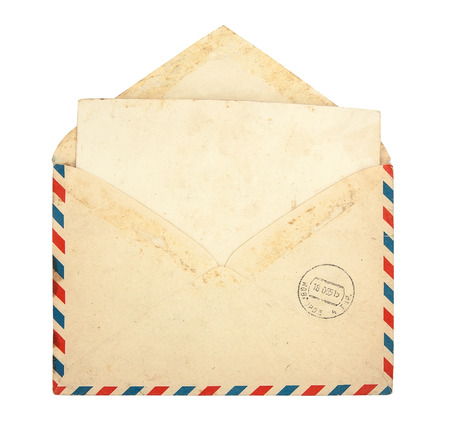 Old envelope with blank card on a white background