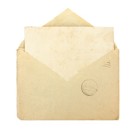 envelope: Old envelope with blank card on a white background