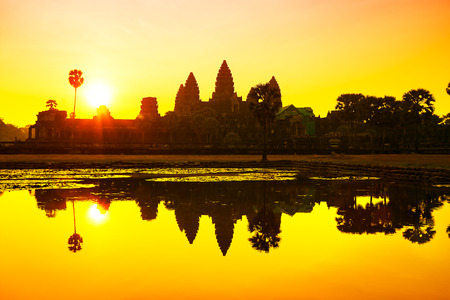 temple tower: Angkor Wat sunrise at Siem Reap. Cambodia