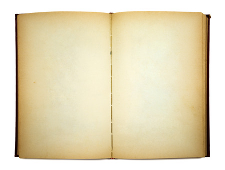 Old open book on white 스톡 콘텐츠