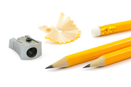 pencil sharpener: Pencils and sharpener isolated on a white background Stock Photo