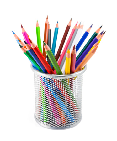 colored pencils: Colored pencils in pot isolated on white background