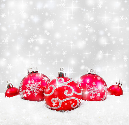 christmas snow: Decorative christmas background with bokeh lights and snowflakes Stock Photo