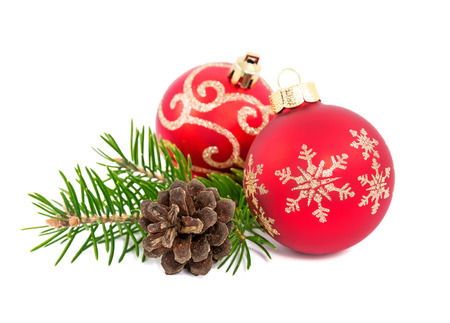 christmas bulbs: christmas decoration isolated on the white background