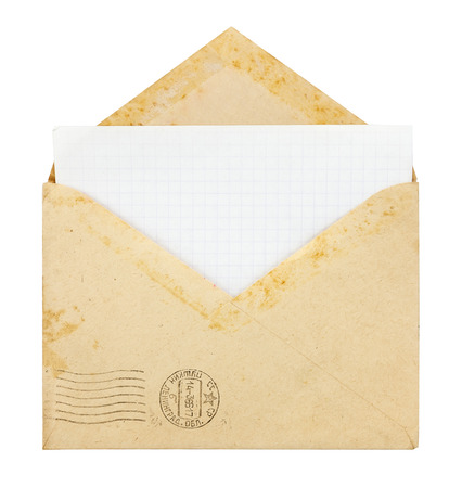 old envelope: Old envelope with blank card on a white background